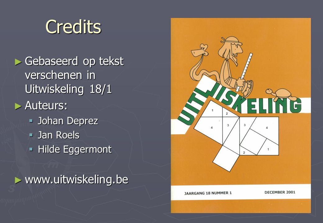 Credits ► Gebaseerd op tekst verschenen in Uitwiskeling 18/1 ► Auteurs:  Johan Deprez  Jan Roels  Hilde Eggermont ► www.uitwiskeling.be