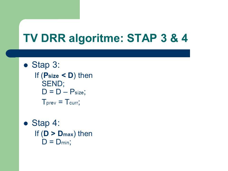 TV DRR algoritme: STAP 3 & 4 Stap 3: If (P size < D) then SEND; D = D – P size ; T prev = T curr ; Stap 4: If (D > D max ) then D = D min ;