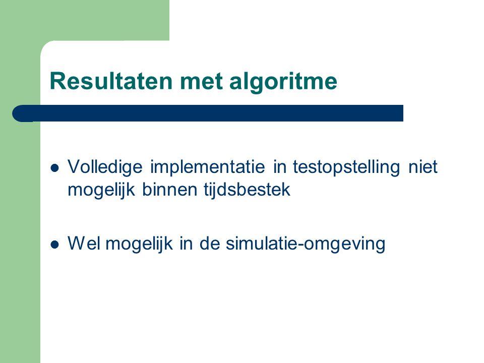 Resultaten met algoritme Volledige implementatie in testopstelling niet mogelijk binnen tijdsbestek Wel mogelijk in de simulatie-omgeving