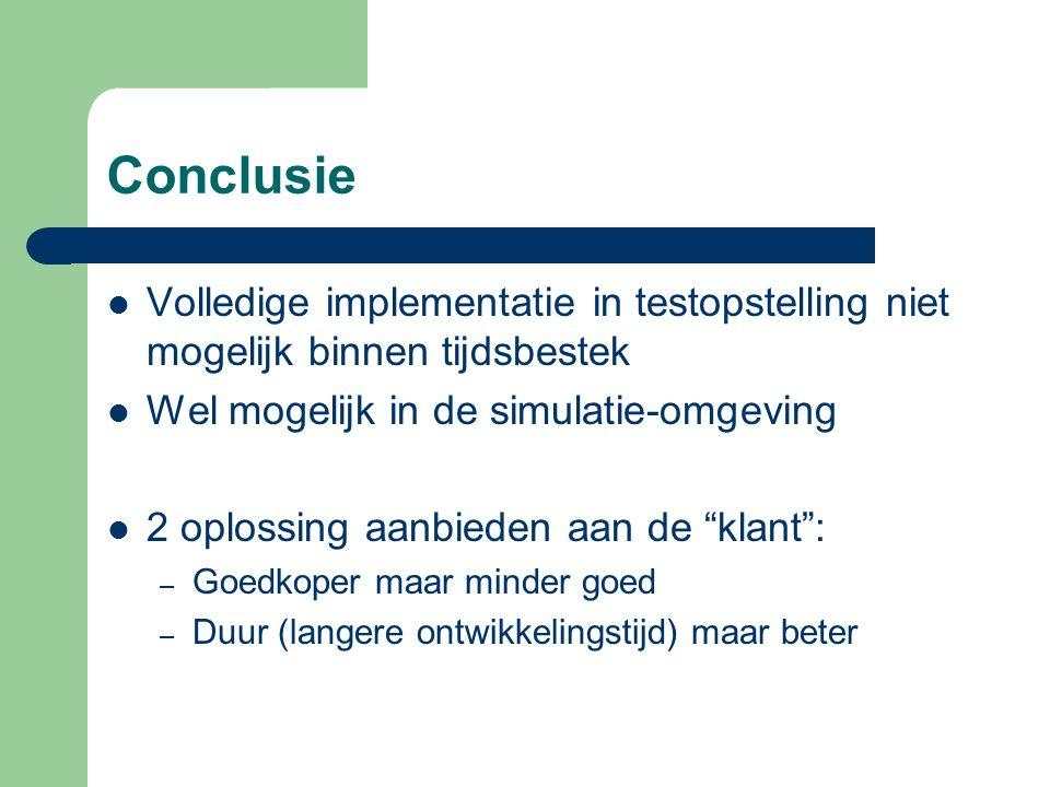 Conclusie Volledige implementatie in testopstelling niet mogelijk binnen tijdsbestek Wel mogelijk in de simulatie-omgeving 2 oplossing aanbieden aan d