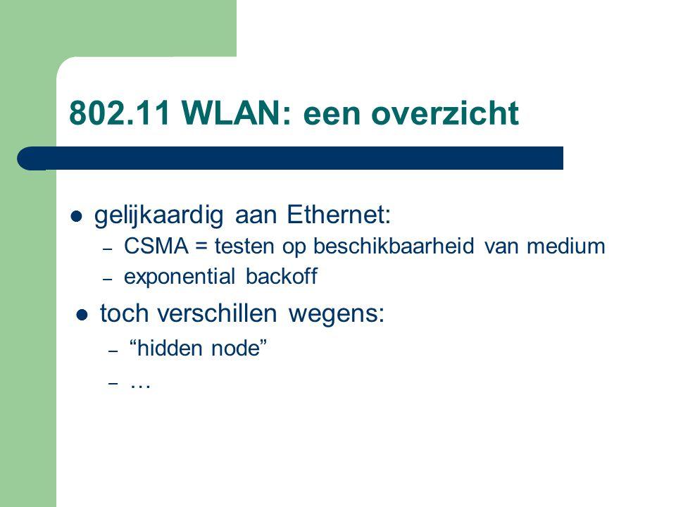 """802.11 WLAN: een overzicht gelijkaardig aan Ethernet: – CSMA = testen op beschikbaarheid van medium – exponential backoff toch verschillen wegens: – """""""