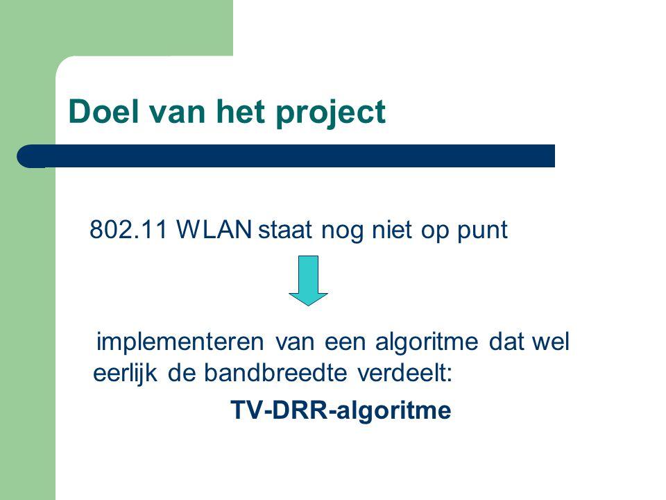 Doel van het project 802.11 WLAN staat nog niet op punt implementeren van een algoritme dat wel eerlijk de bandbreedte verdeelt: TV-DRR-algoritme