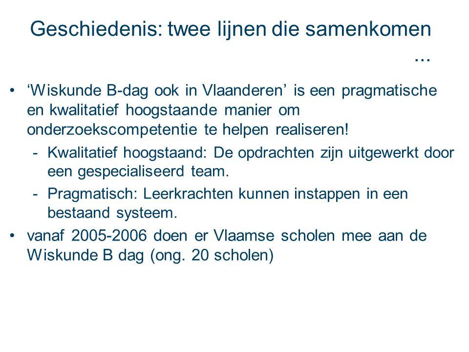 Geschiedenis: twee lijnen die samenkomen... 'Wiskunde B-dag ook in Vlaanderen' is een pragmatische en kwalitatief hoogstaande manier om onderzoekscomp