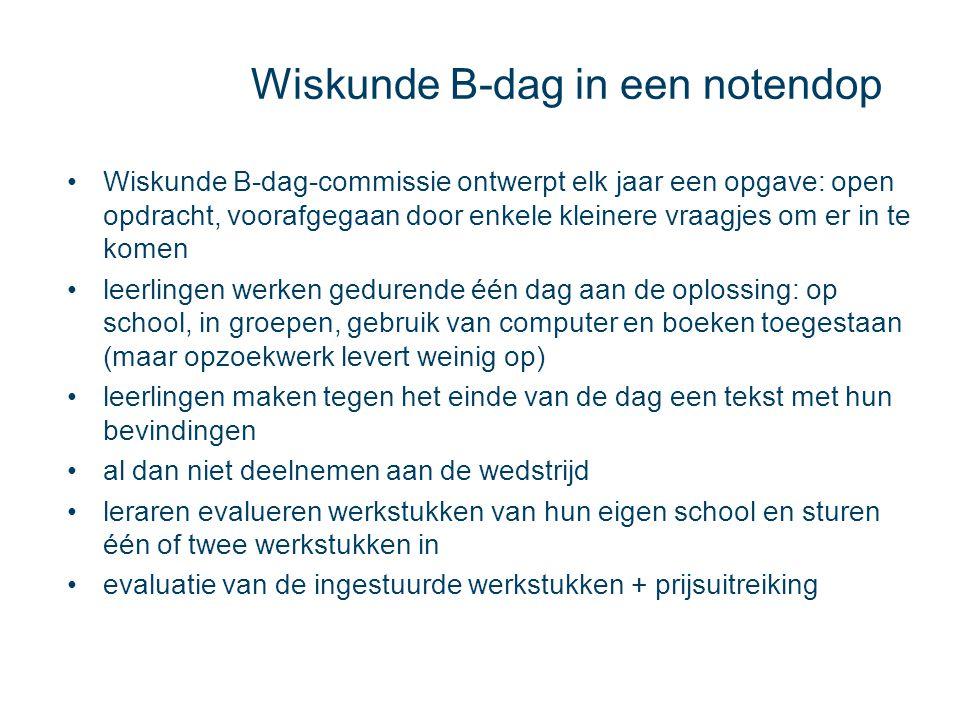 Wiskunde B-dag in een notendop Wiskunde B-dag-commissie ontwerpt elk jaar een opgave: open opdracht, voorafgegaan door enkele kleinere vraagjes om er