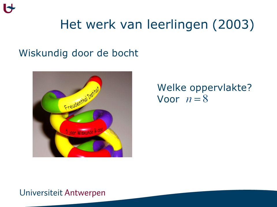 Het werk van leerlingen (2003) Wiskundig door de bocht Welke oppervlakte? Voor