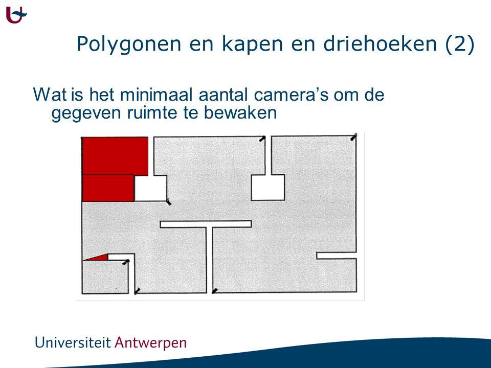Polygonen en kapen en driehoeken (2) Wat is het minimaal aantal camera's om de gegeven ruimte te bewaken