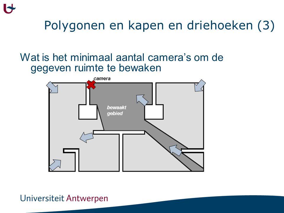 Polygonen en kapen en driehoeken (3) Wat is het minimaal aantal camera's om de gegeven ruimte te bewaken