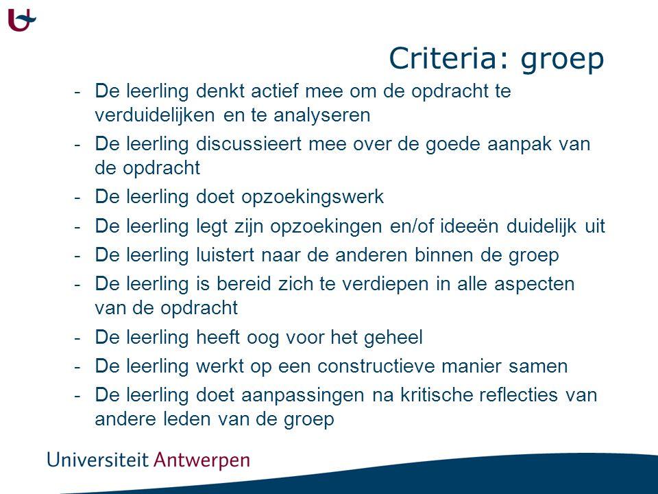 Criteria: groep -De leerling denkt actief mee om de opdracht te verduidelijken en te analyseren -De leerling discussieert mee over de goede aanpak van