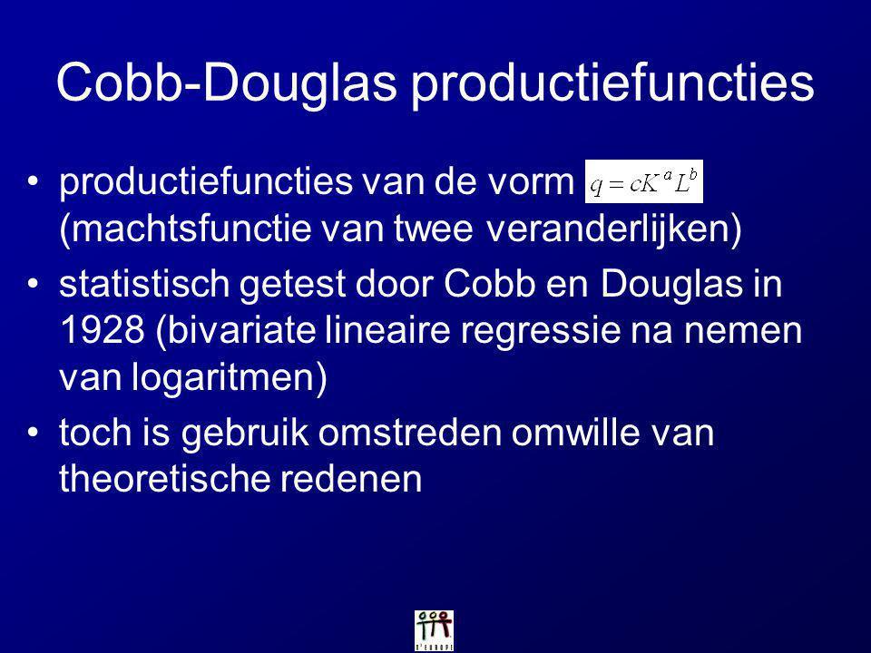 Cobb-Douglas productiefuncties productiefuncties van de vorm (machtsfunctie van twee veranderlijken) statistisch getest door Cobb en Douglas in 1928 (