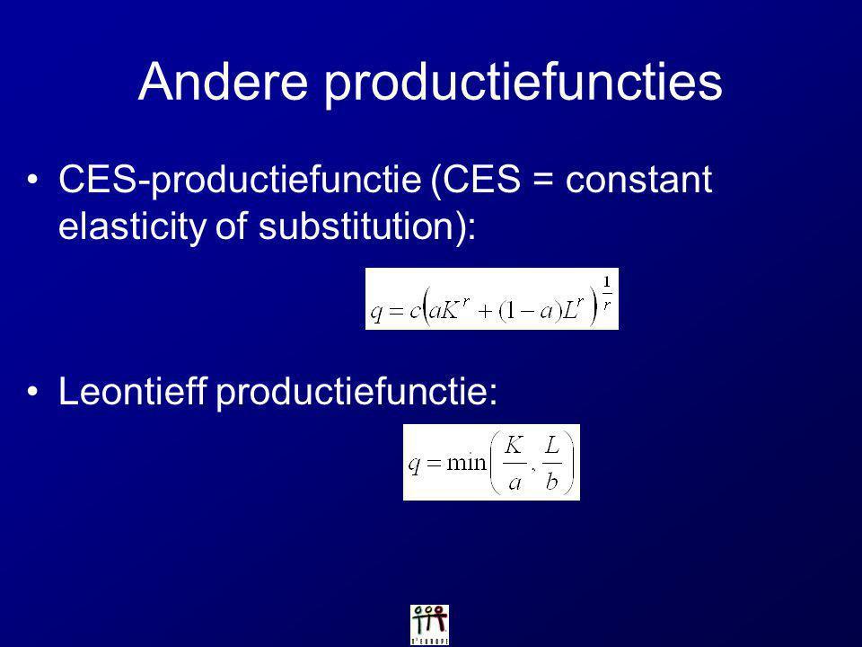 Andere productiefuncties CES-productiefunctie (CES = constant elasticity of substitution): Leontieff productiefunctie: