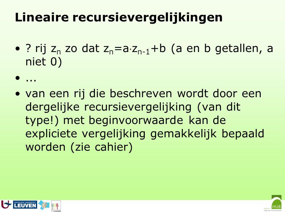 De recursievergelijking (b een positief getal) niet lineair omwille van het kwadraat.