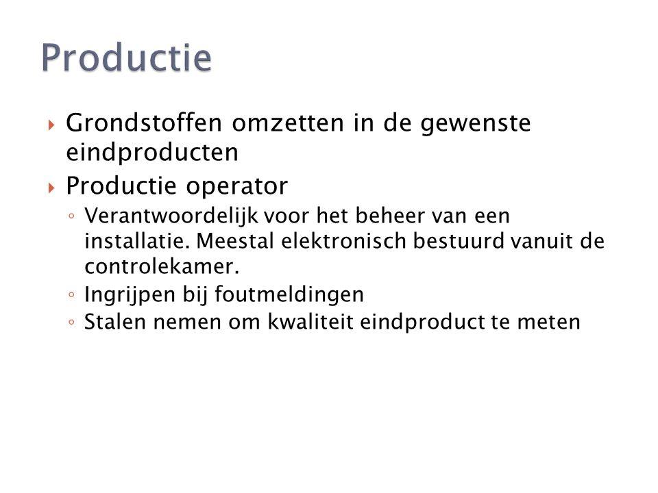  Grondstoffen omzetten in de gewenste eindproducten  Productie operator ◦ Verantwoordelijk voor het beheer van een installatie.