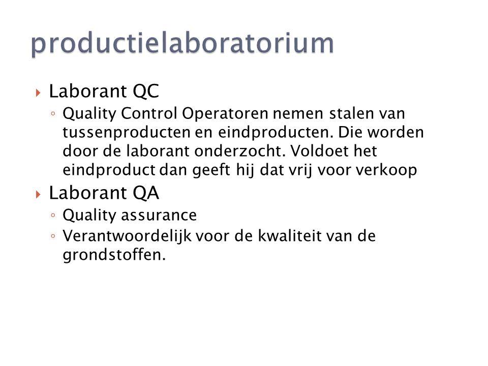  Laborant QC ◦ Quality Control Operatoren nemen stalen van tussenproducten en eindproducten.