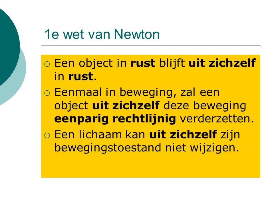 1e wet van Newton  Een object in rust blijft uit zichzelf in rust.  Eenmaal in beweging, zal een object uit zichzelf deze beweging eenparig rechtlij