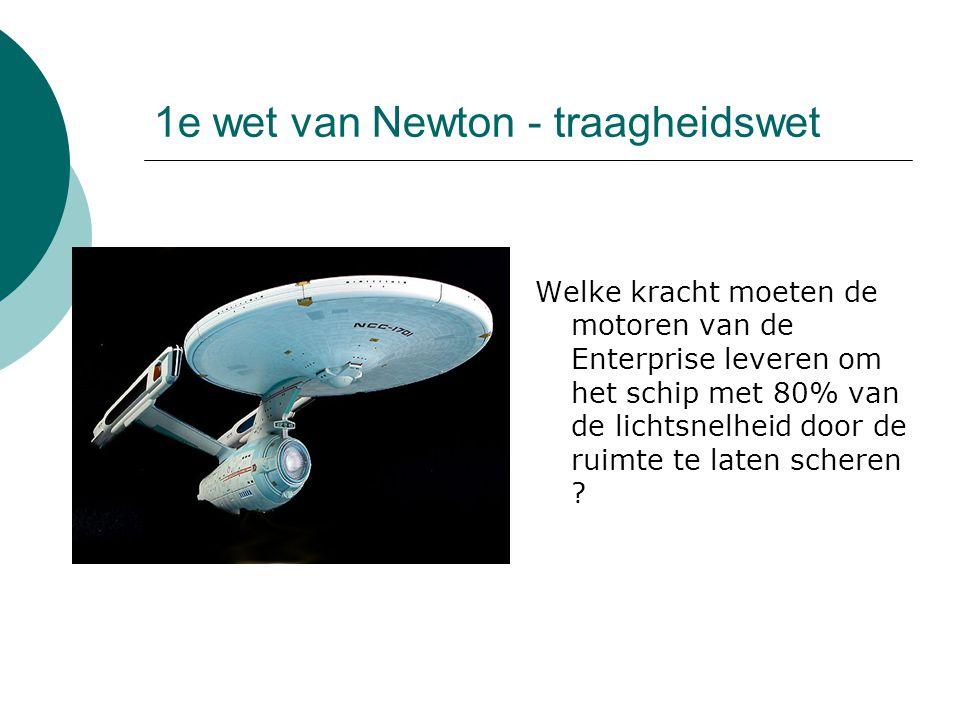 1e wet van Newton - traagheidswet Welke kracht moeten de motoren van de Enterprise leveren om het schip met 80% van de lichtsnelheid door de ruimte te