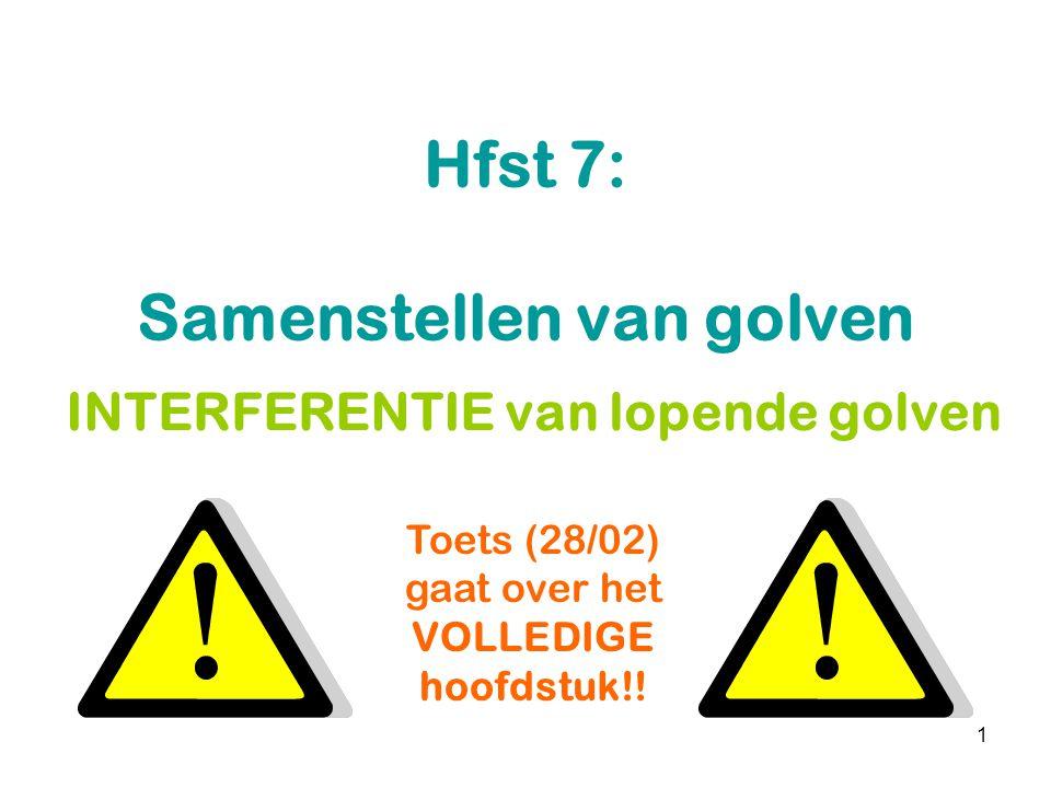 1 Hfst 7: Samenstellen van golven INTERFERENTIE van lopende golven Toets (28/02) gaat over het VOLLEDIGE hoofdstuk!!