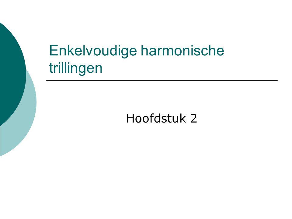 Enkelvoudige harmonische trillingen Hoofdstuk 2