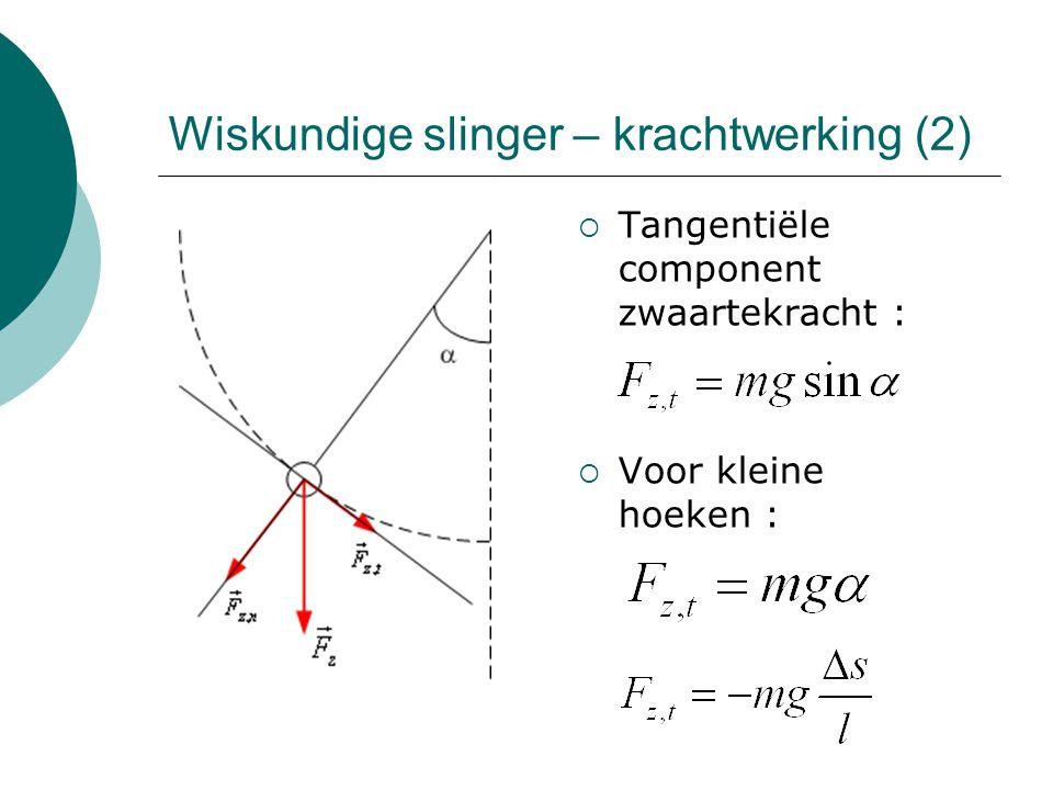 Tangentiële component zwaartekracht :  Voor kleine hoeken : Wiskundige slinger – krachtwerking (2)