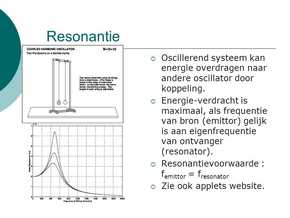 Resonantie  Oscillerend systeem kan energie overdragen naar andere oscillator door koppeling.  Energie-verdracht is maximaal, als frequentie van bro