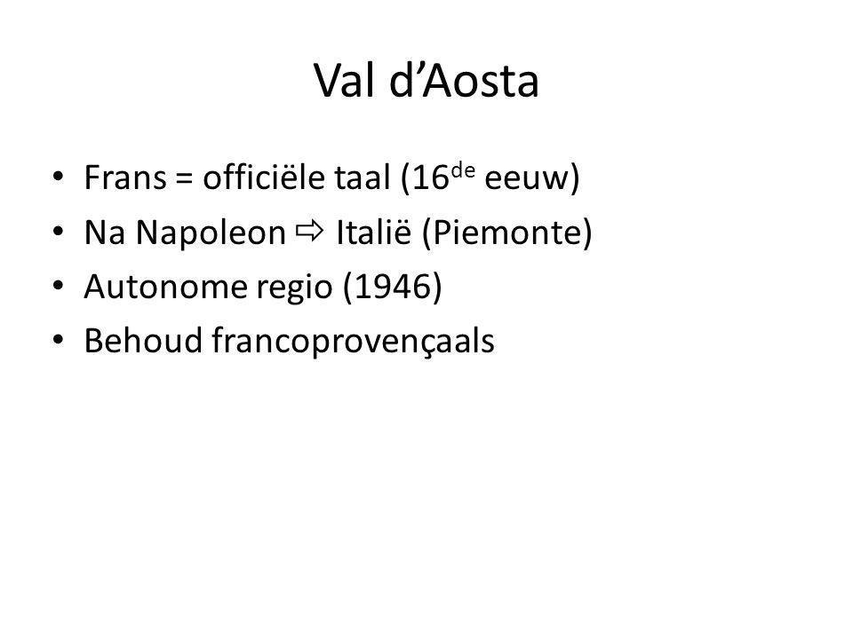 Val d'Aosta Frans = officiële taal (16 de eeuw) Na Napoleon  Italië (Piemonte) Autonome regio (1946) Behoud francoprovençaals