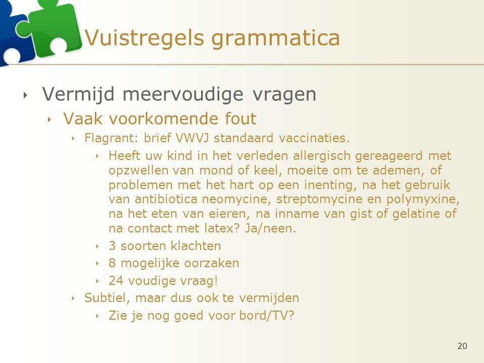 Vuistregels grammatica  Vermijd meervoudige vragen  Vaak voorkomende fout  Flagrant: brief VWVJ standaard vaccinaties.  Heeft uw kind in het verle