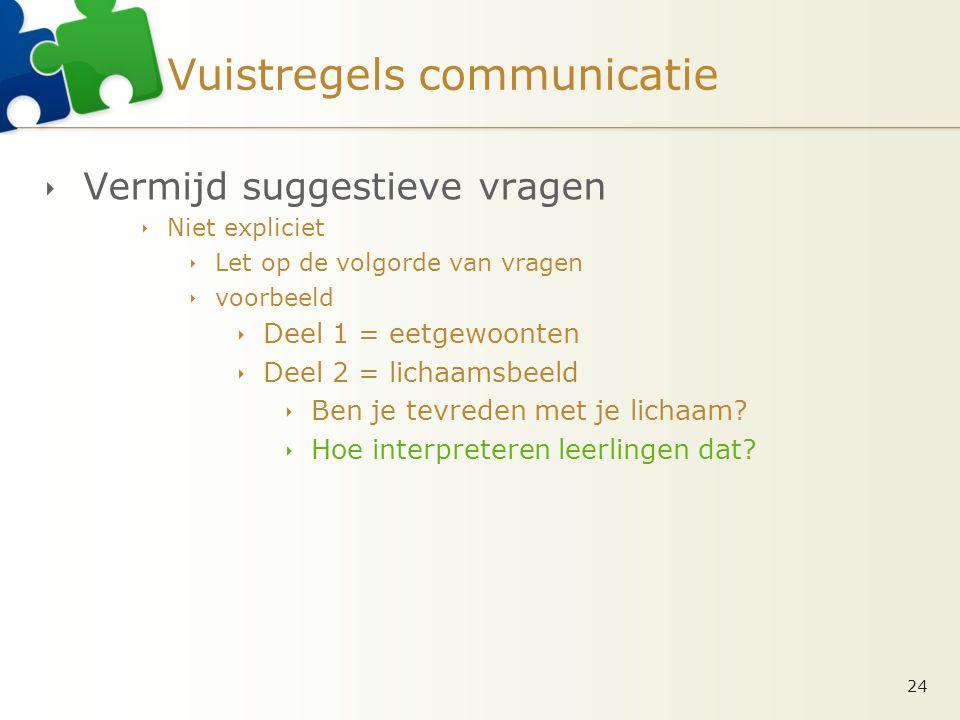 Vuistregels communicatie  Vermijd suggestieve vragen  Niet expliciet  Let op de volgorde van vragen  voorbeeld  Deel 1 = eetgewoonten  Deel 2 =