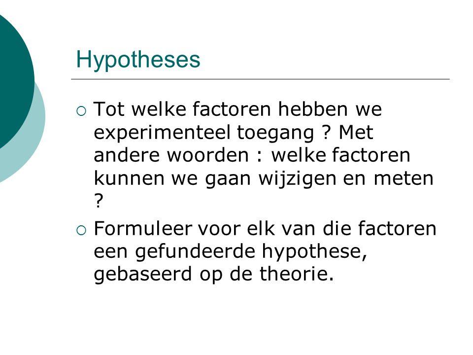 Hypotheses  Tot welke factoren hebben we experimenteel toegang .