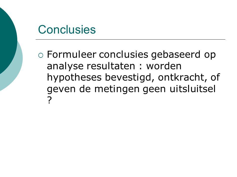 Conclusies  Formuleer conclusies gebaseerd op analyse resultaten : worden hypotheses bevestigd, ontkracht, of geven de metingen geen uitsluitsel ?