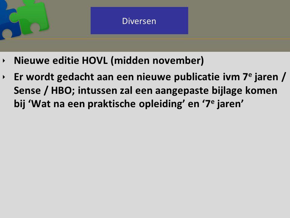  Nieuwe editie HOVL (midden november)  Er wordt gedacht aan een nieuwe publicatie ivm 7 e jaren / Sense / HBO; intussen zal een aangepaste bijlage k