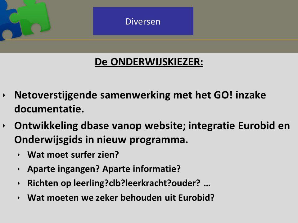 De ONDERWIJSKIEZER:  Netoverstijgende samenwerking met het GO! inzake documentatie.  Ontwikkeling dbase vanop website; integratie Eurobid en Onderwi