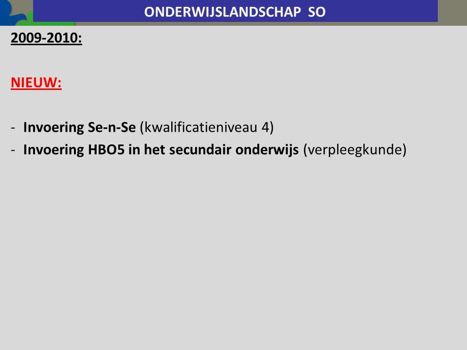2009-2010: NIEUW: -Invoering Se-n-Se (kwalificatieniveau 4) -Invoering HBO5 in het secundair onderwijs (verpleegkunde) ONDERWIJSLANDSCHAP SO