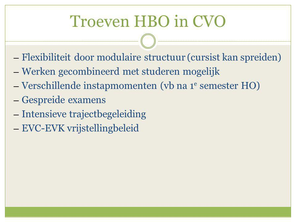 Troeven HBO in CVO ― Flexibiliteit door modulaire structuur (cursist kan spreiden) ― Werken gecombineerd met studeren mogelijk ― Verschillende instapmomenten (vb na 1 e semester HO) ― Gespreide examens ― Intensieve trajectbegeleiding ― EVC-EVK vrijstellingbeleid