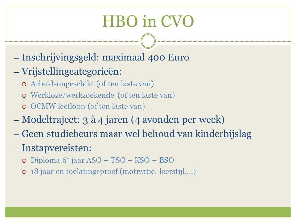 HBO in CVO ― Inschrijvingsgeld: maximaal 400 Euro ― Vrijstellingcategorieën:  Arbeidsongeschikt (of ten laste van)  Werkloze/werkzoekende (of ten laste van)  OCMW leefloon (of ten laste van) ― Modeltraject: 3 à 4 jaren (4 avonden per week) ― Geen studiebeurs maar wel behoud van kinderbijslag ― Instapvereisten:  Diploma 6 e jaar ASO – TSO – KSO – BSO  18 jaar en toelatingsproef (motivatie, leerstijl,…)