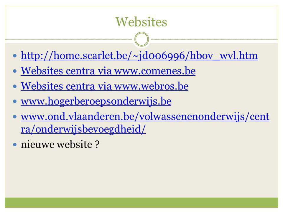 Websites http://home.scarlet.be/~jd006996/hbov_wvl.htm Websites centra via www.comenes.be Websites centra via www.webros.be www.hogerberoepsonderwijs.
