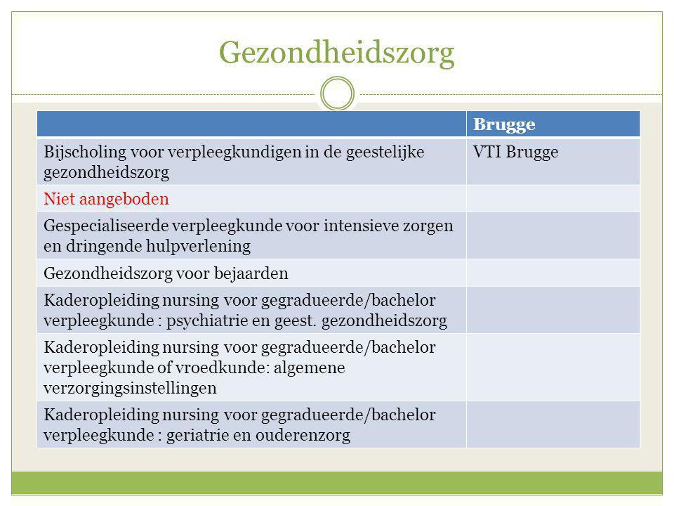Gezondheidszorg Brugge Bijscholing voor verpleegkundigen in de geestelijke gezondheidszorg VTI Brugge Niet aangeboden Gespecialiseerde verpleegkunde v