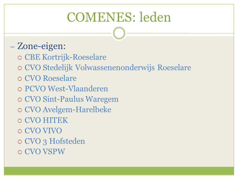 COMENES: leden  Zonevreemd:  CVO SNT (Ruiselede)  CVO DE AVONDSCHOOL (Roeselare en Izegem)  CVO VIVA West-Vlaanderen (een 10-tal vestigingsplaatsen)  CVO De Vlaamse Ardennen (Waregem)