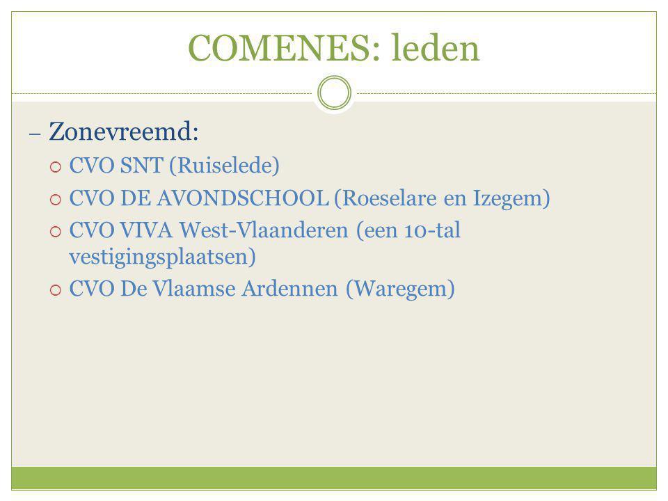 COMENES: leden  Zonevreemd:  CVO SNT (Ruiselede)  CVO DE AVONDSCHOOL (Roeselare en Izegem)  CVO VIVA West-Vlaanderen (een 10-tal vestigingsplaatse