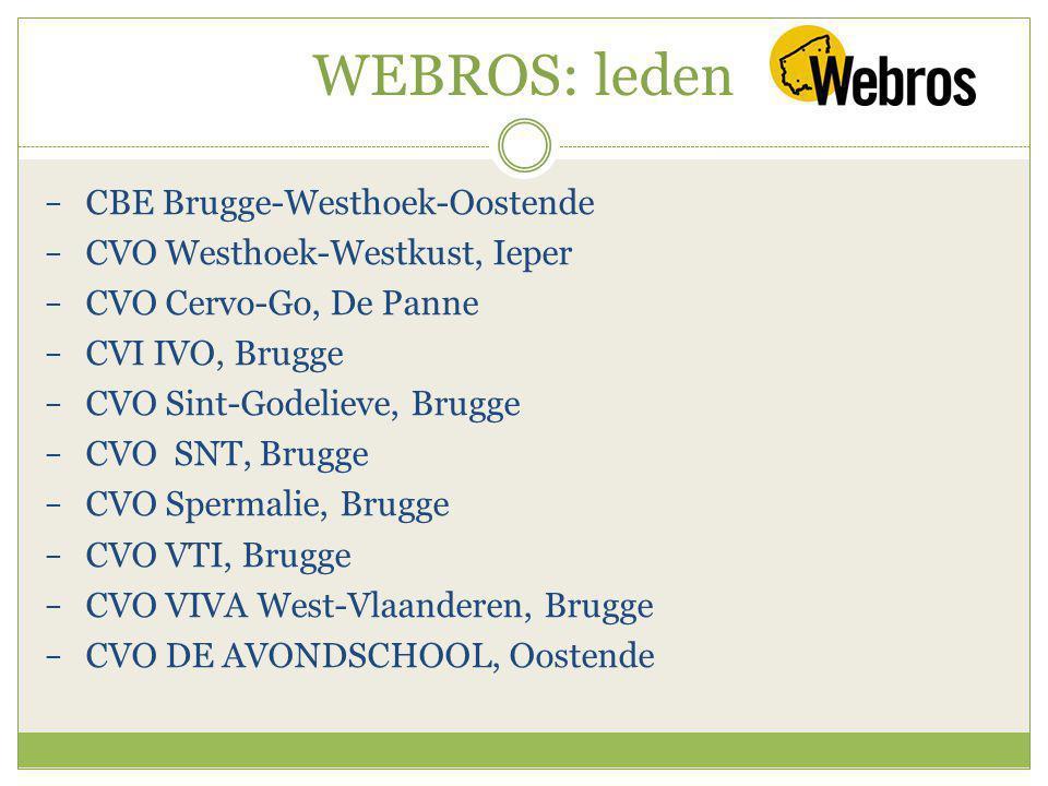 WEBROS: leden − CBE Brugge-Westhoek-Oostende − CVO Westhoek-Westkust, Ieper − CVO Cervo-Go, De Panne − CVI IVO, Brugge − CVO Sint-Godelieve, Brugge − CVO SNT, Brugge − CVO Spermalie, Brugge − CVO VTI, Brugge − CVO VIVA West-Vlaanderen, Brugge − CVO DE AVONDSCHOOL, Oostende