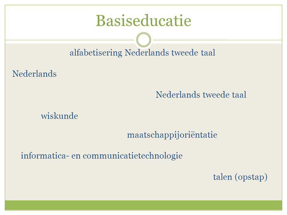 Basiseducatie alfabetisering Nederlands tweede taal Nederlands Nederlands tweede taal wiskunde maatschappijoriëntatie informatica- en communicatietechnologie talen (opstap)