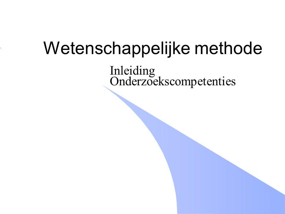 Wetenschappelijke methode Inleiding Onderzoekscompetenties