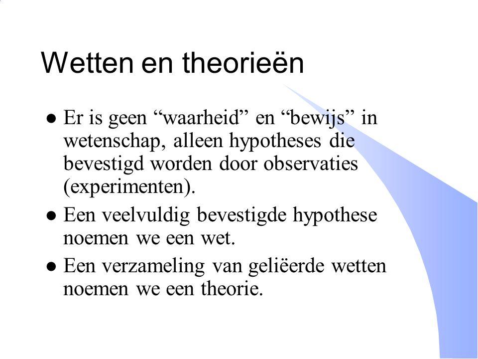 """Wetten en theorieën Er is geen """"waarheid"""" en """"bewijs"""" in wetenschap, alleen hypotheses die bevestigd worden door observaties (experimenten). Een veelv"""