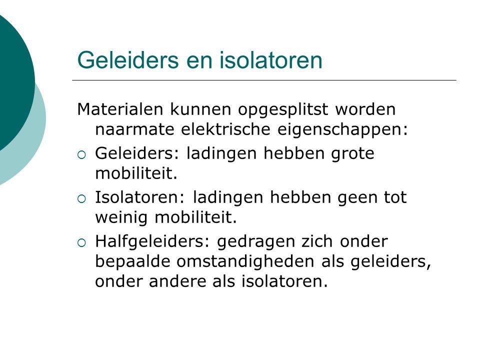 Geleiders en isolatoren Materialen kunnen opgesplitst worden naarmate elektrische eigenschappen:  Geleiders: ladingen hebben grote mobiliteit.