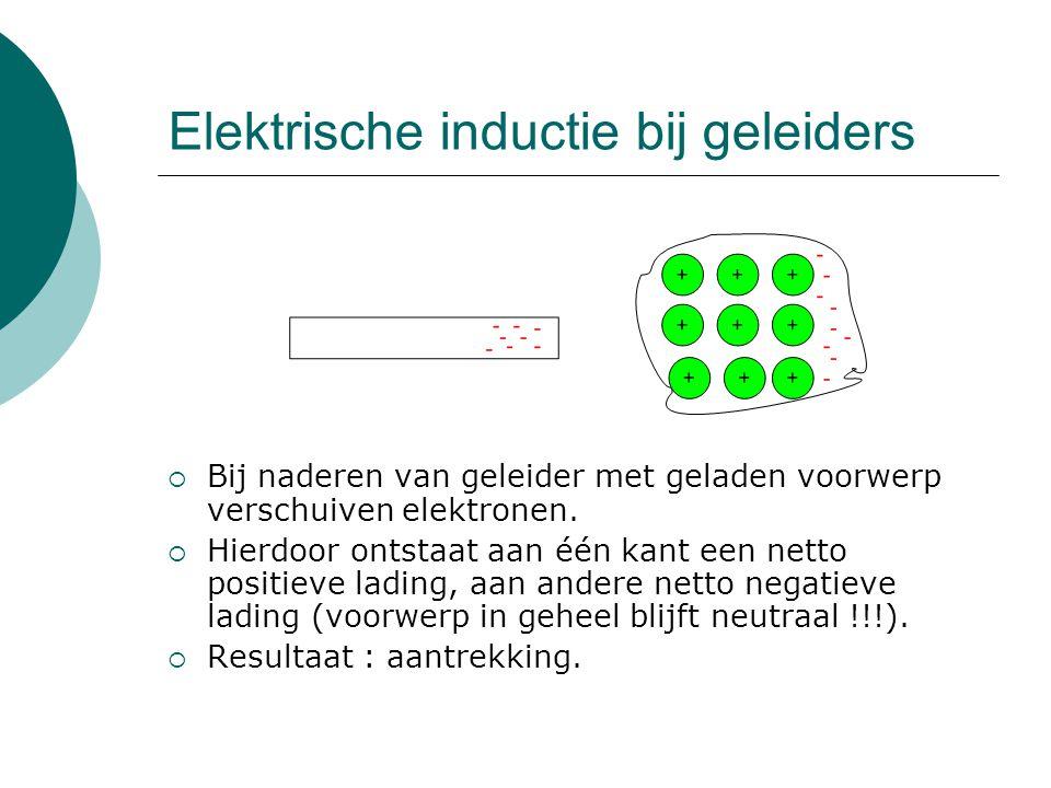 Elektrische inductie bij geleiders  Bij naderen van geleider met geladen voorwerp verschuiven elektronen.