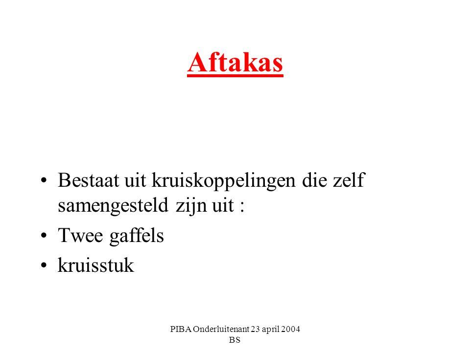 PIBA Onderluitenant 23 april 2004 BS Aftakas Bestaat uit kruiskoppelingen die zelf samengesteld zijn uit : Twee gaffels kruisstuk
