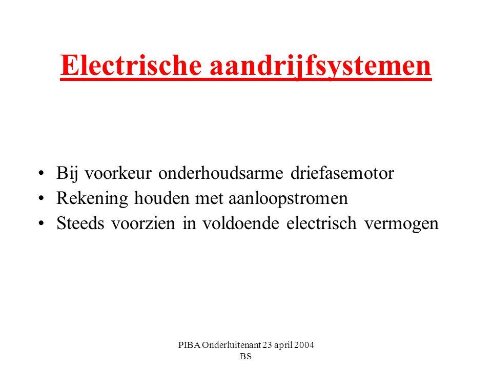 PIBA Onderluitenant 23 april 2004 BS Electrische aandrijfsystemen Bij voorkeur onderhoudsarme driefasemotor Rekening houden met aanloopstromen Steeds