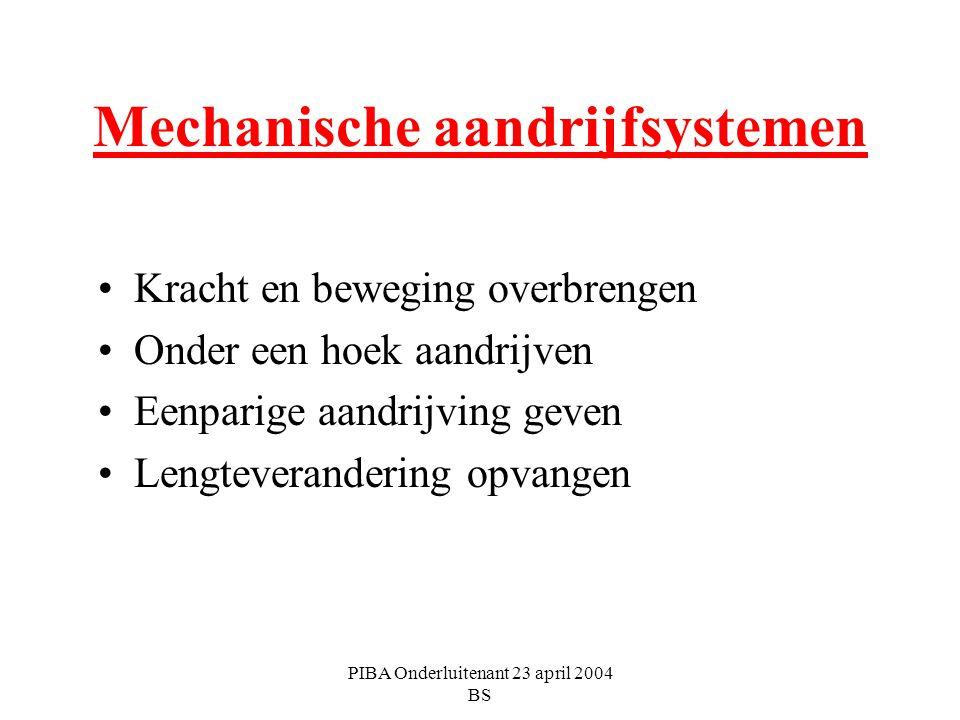 PIBA Onderluitenant 23 april 2004 BS Mechanische aandrijfsystemen Kracht en beweging overbrengen Onder een hoek aandrijven Eenparige aandrijving geven