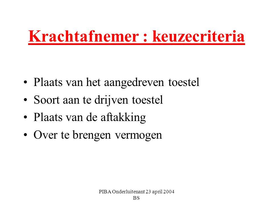PIBA Onderluitenant 23 april 2004 BS Krachtafnemer : keuzecriteria Plaats van het aangedreven toestel Soort aan te drijven toestel Plaats van de aftak