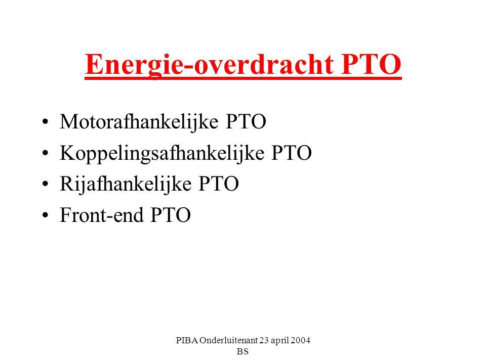 PIBA Onderluitenant 23 april 2004 BS Energie-overdracht PTO Motorafhankelijke PTO Koppelingsafhankelijke PTO Rijafhankelijke PTO Front-end PTO