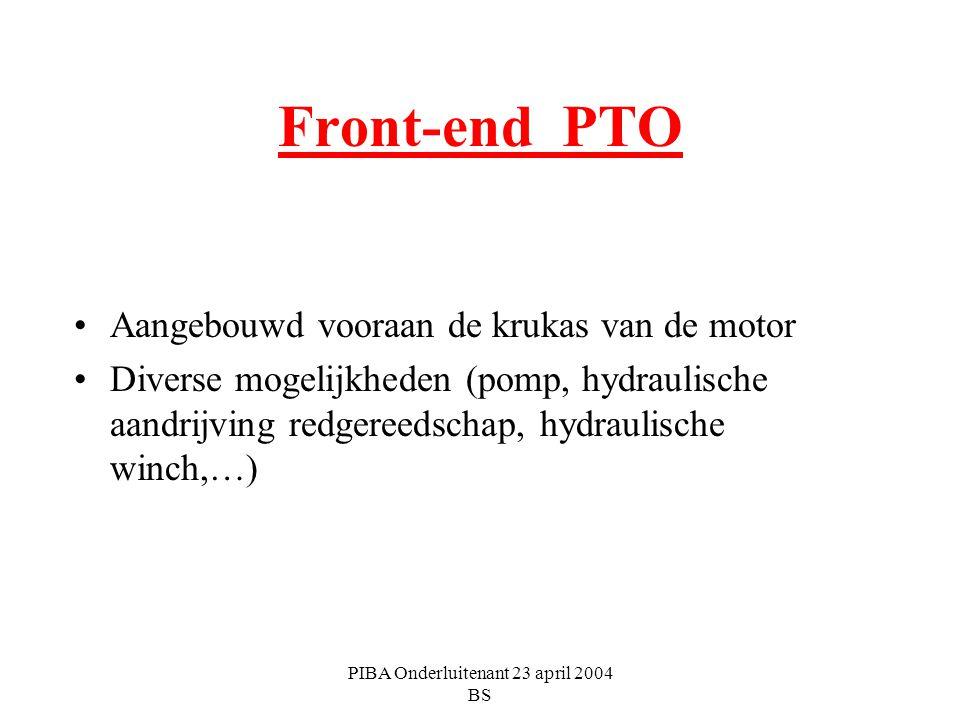 PIBA Onderluitenant 23 april 2004 BS Front-end PTO Aangebouwd vooraan de krukas van de motor Diverse mogelijkheden (pomp, hydraulische aandrijving red