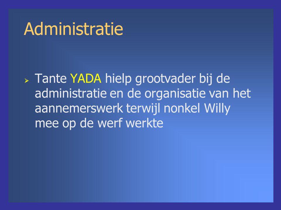 Administratie  Tante YADA hielp grootvader bij de administratie en de organisatie van het aannemerswerk terwijl nonkel Willy mee op de werf werkte